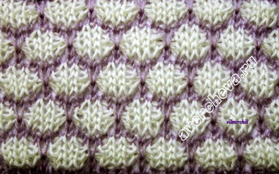 вязание спицами двухцветные узоры схемы