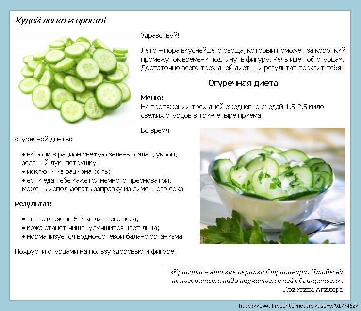 Рецепты для диеты огуречной