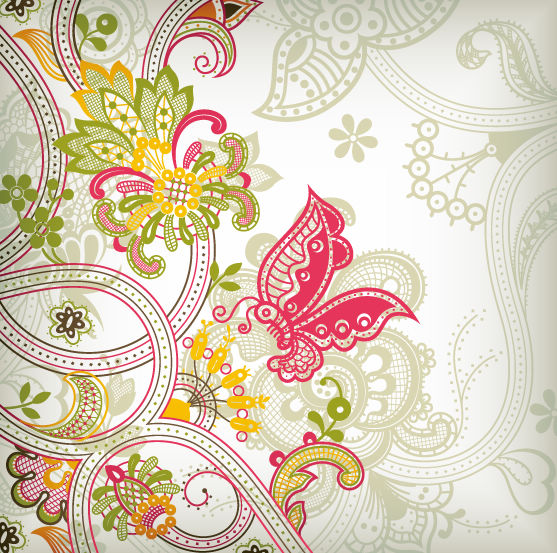 Vintage Flower Pattern Background Vector Art (557x553, 122Kb)