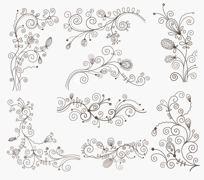 Swirl Floral Decorative Elements Vector Graphic Set (700x617, 91Kb)