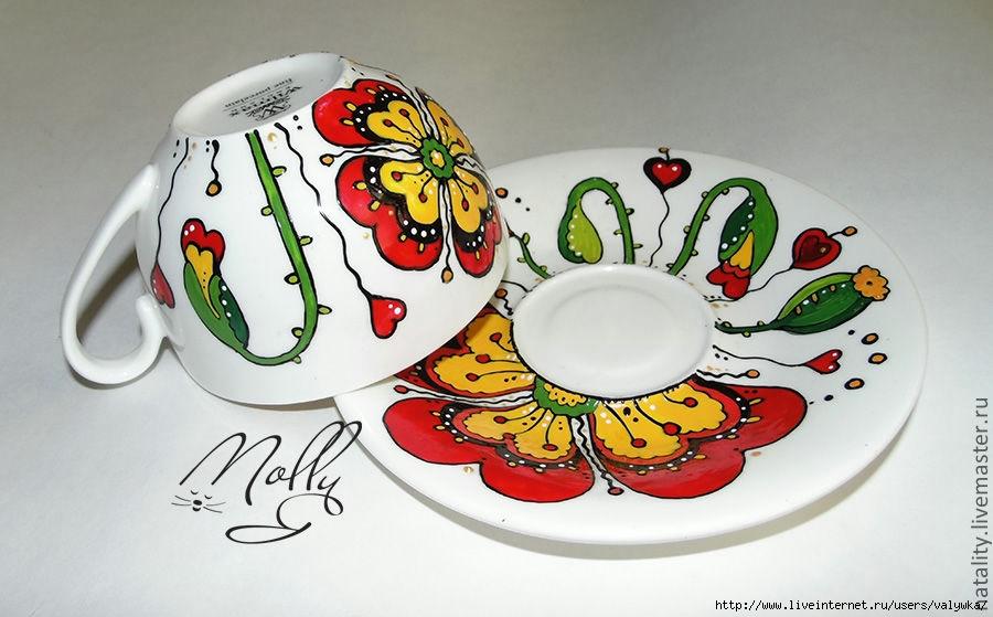 Прикольные рисунки на посуде