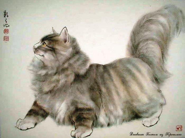 японское изображение кошки (700x525, 53Kb)