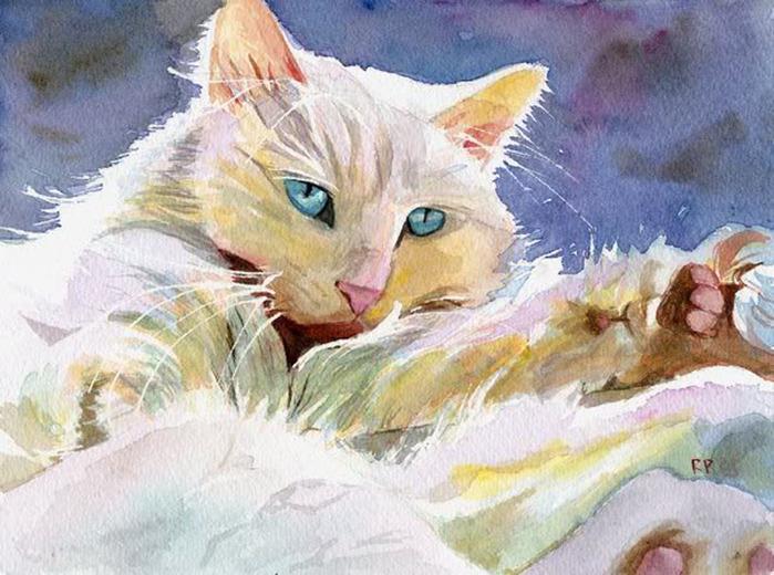 Кошачьи акварели Rachel Parker.1 (700x520, 137Kb)