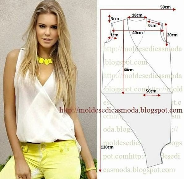 b4f688a0138 Выкройка блузки без рукавов. Красивая блузочка на жару. 5320643 6IjEcxpahmQ  (595x580