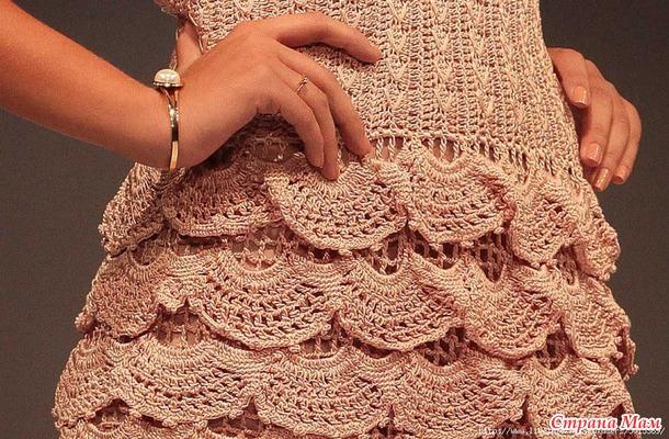 Платье крючком  quot Стелла quot  с сайта  quot Страна мам quot  Буду  вязать ниточками ЯрнАрт LILY(цвет 4105) 225 м 50 гр. крючками №2 и 2,5 61bd67abe9b