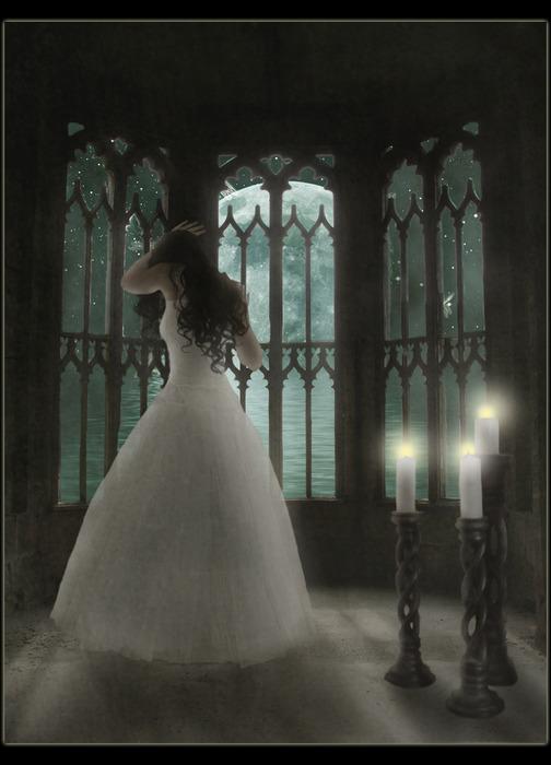 Девушка в белом платье арт