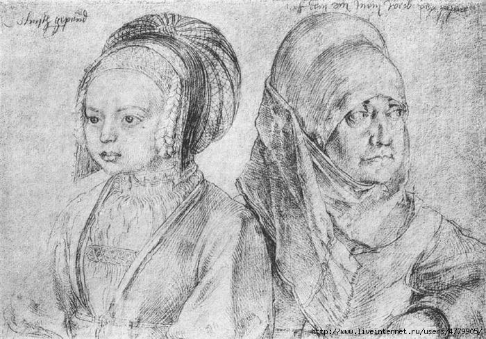 07 Albrecht_Durer_A_Young_Girl_of_Cologne_and_Durer_27s_Wife (700x488, 250Kb)