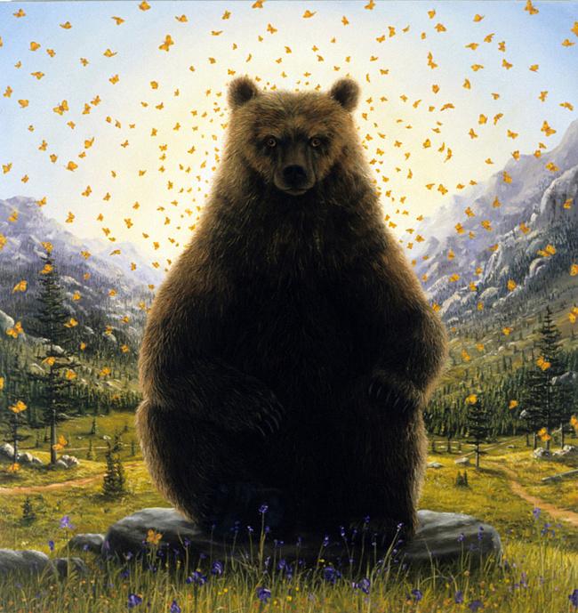 Картинки медведь с бабочкой