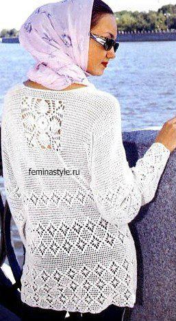 Филейное вязание. Белая туника с цветами. Схемы DIY Pinterest