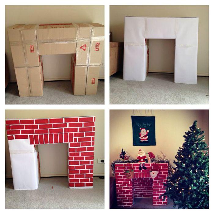 Новогодний камин-обманка из картонных коробок