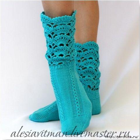 Ажурные носочки спицами схема 40