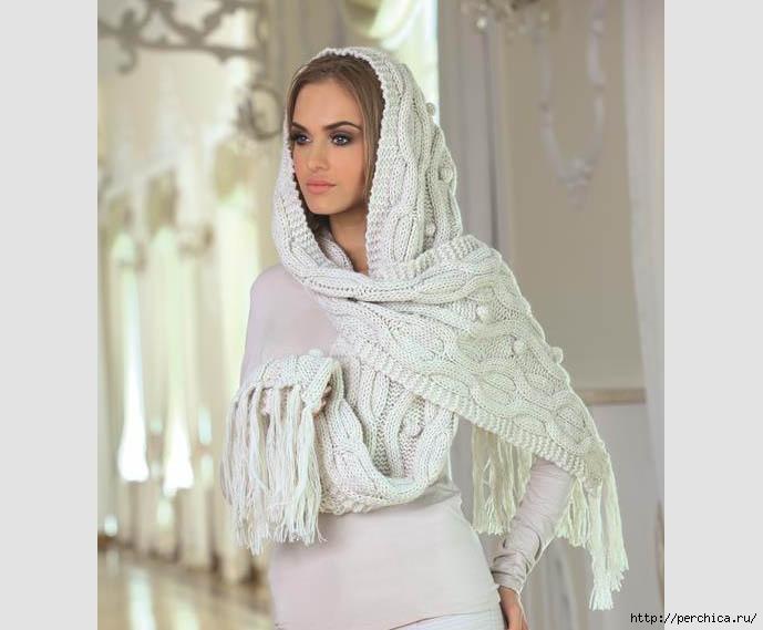шарф капюшон вязаный спицамимного идей и воплощенийописание и