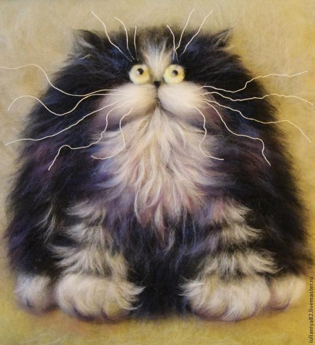 Шерстяная акварель мастер класс кот или кошка пошагово #8