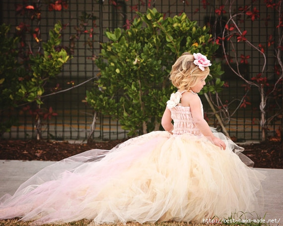 Pink lace flower girl dresses