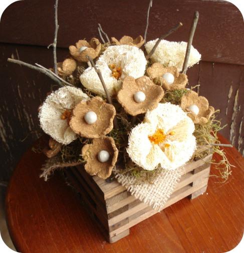 цветы из мочалки, люфы, своими руками. Мастер класс