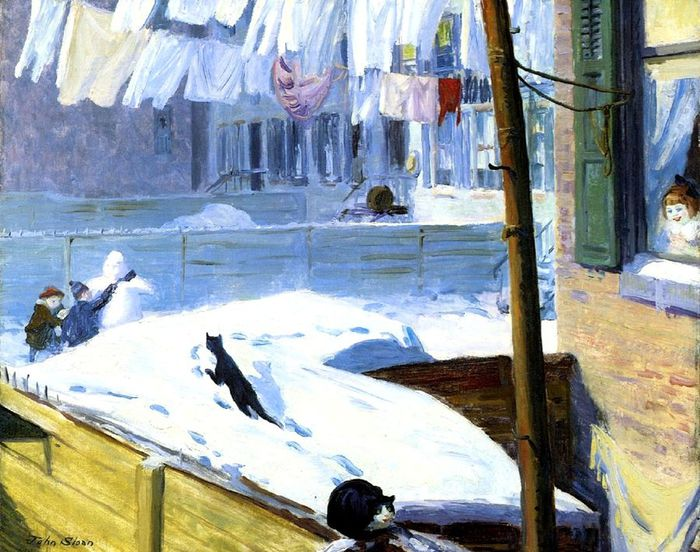 John 1Sloan (American painter, 1871-1951) Backyards, Greenwich Village 1914 (700x552, 90Kb)