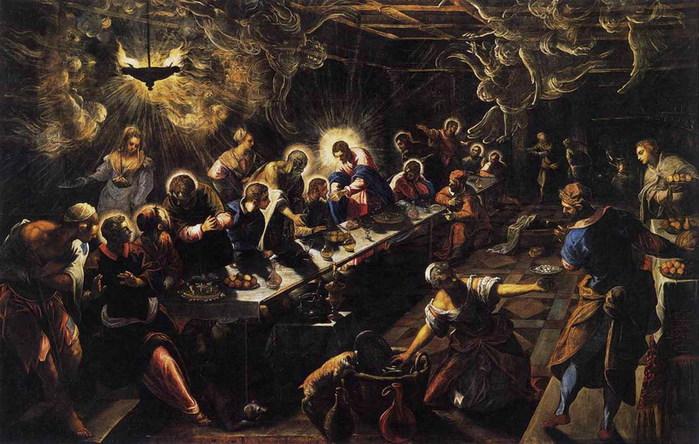 Тайная вечеря   1592-1594  Церковь св. Джорджио Марджиоре  Венеция (700x444, 113Kb)