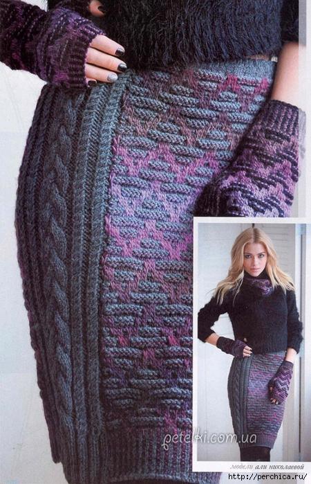 afc172402242 Красивая теплая юбка спицами, связана в технике жаккардового вязания  спицами.