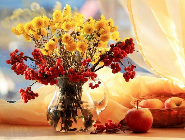 С добрым утром картинки красивые цветы с надписями осень
