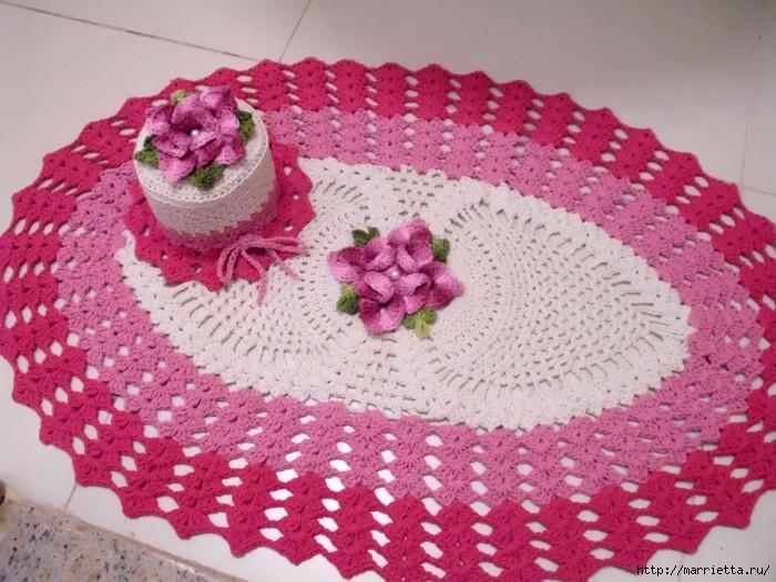 бесплатные схемы вязания крючком ковриков для ванной