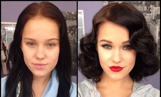 фото до макияжа и после