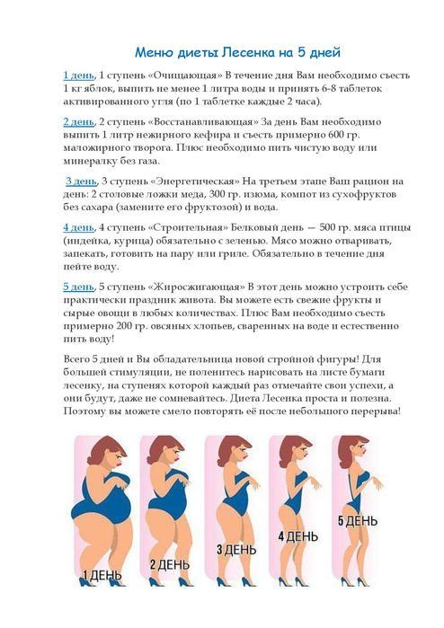 5 Ступенек Диеты Лесенка. Диета Лесенка — 5 ступеней к красивой фигуре