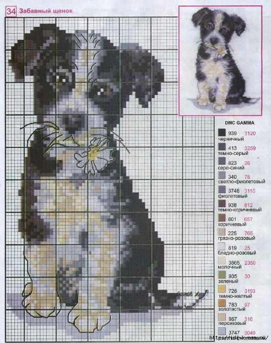 Монохромная вышивка крестом собаки