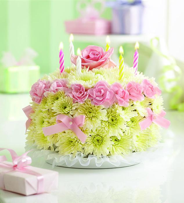 С днем рождения картинка с цветами или тортом