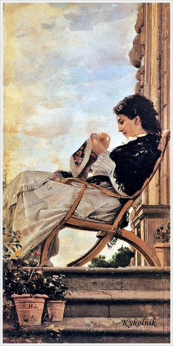 Cristiano Banti (Italian, 1824-1904) Woman Sewing on the Terrace 1882 (350x700, 198Kb)