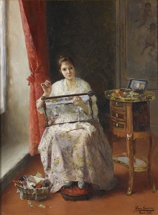 Luis Jimenez Y Aranda, Spanish (1845-1928) Young Women Embroidering (514x700, 60Kb)