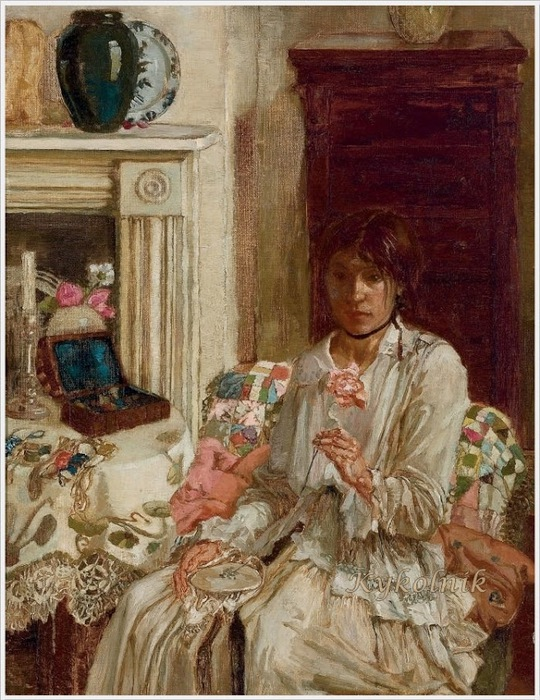 Noel Laura Nisbet (England, 1887 - 1956) Self-portrait, sewing in an interior at Bath Cottage 1918 (540x700, 163Kb)