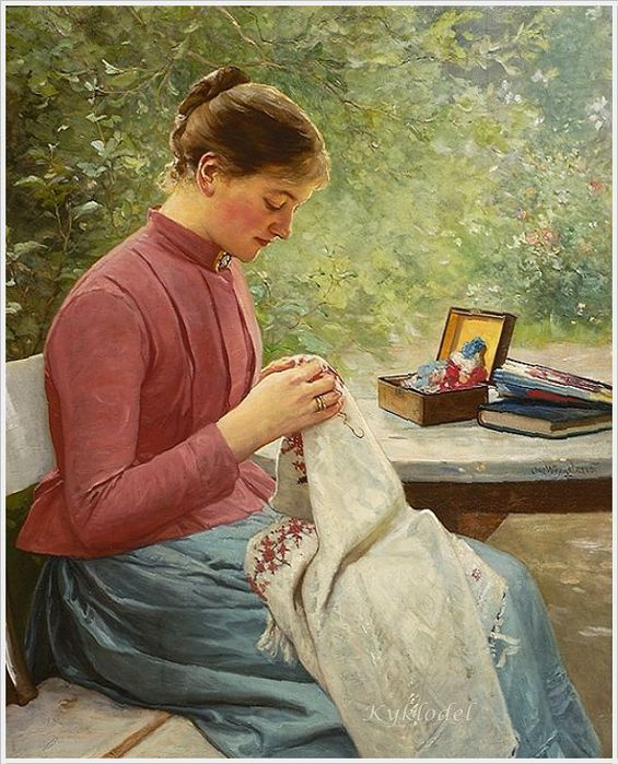 Oscar Arnold Wergeland (Norwegian, 1844 - 1910) Woman who sews 1891 (565x700, 94Kb)