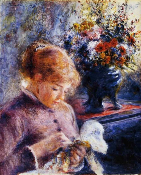 Pierre-Auguste Renoir, Young Woman Sewing, Art, 1879 (566x700, 106Kb)