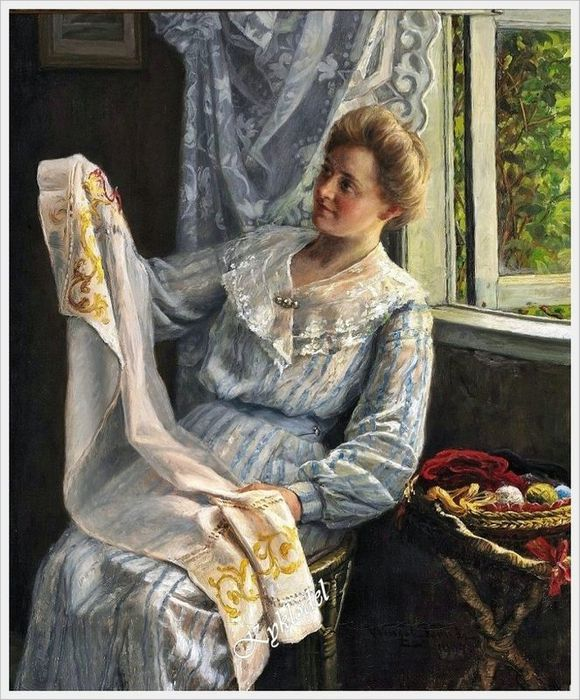 Wenzel Tornoe (Danish, 1844-1907) - Young woman at her needlework (580x700, 96Kb)