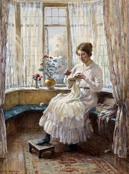 William Kay Blacklock. Lady sewing seated by a window 1917 г. (422x570, 219Kb)