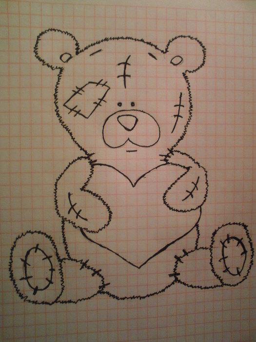 картинки карандашом мишка с серцем