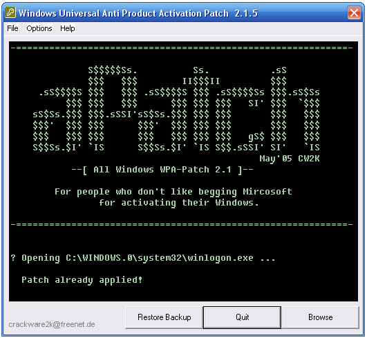 crack antiwpa pour windows xp sp3