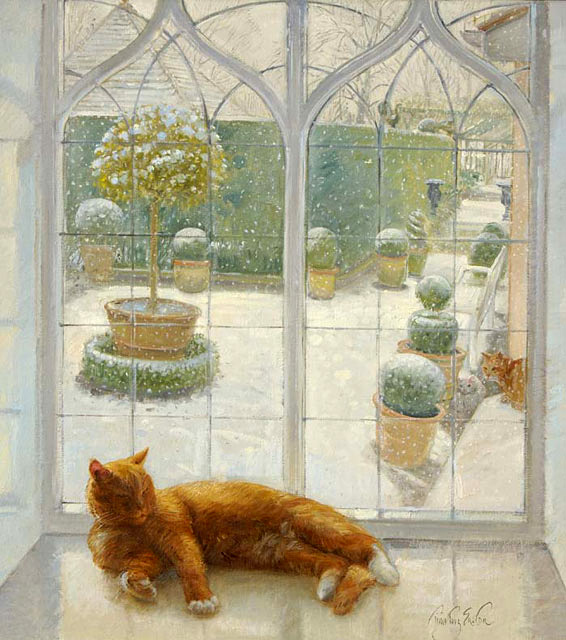 Картинки кот на окне зимой
