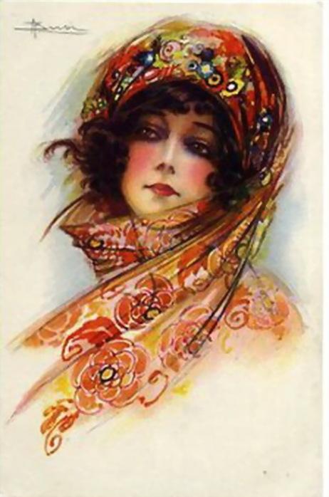 Картинки про, открытки девушки в платке