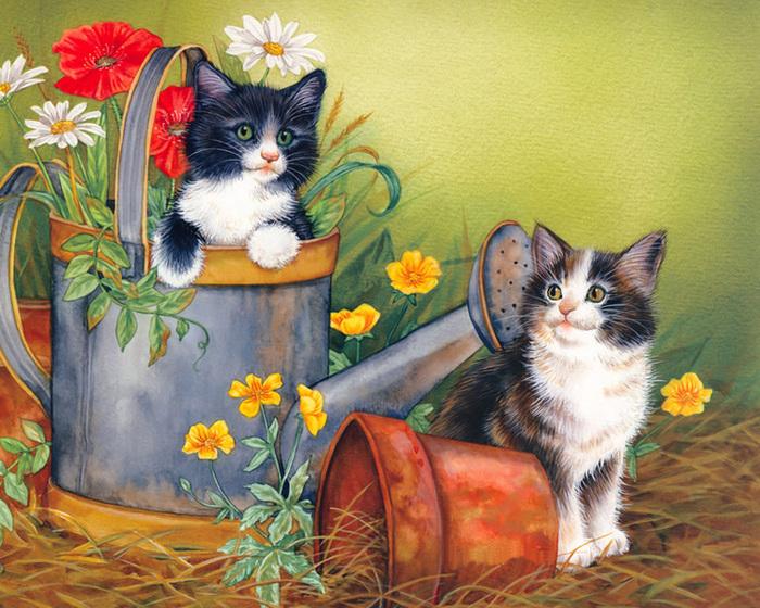Кошки на открытке