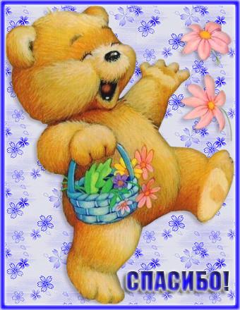 Смешные картинки, открытка с медвежонком спасибо большое