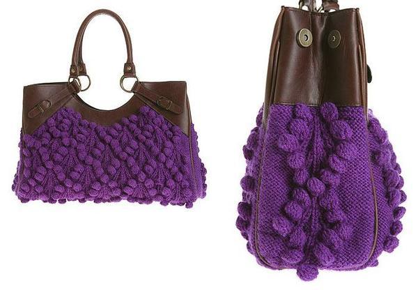 Простую и незатейливую вязаную сумку можно украсить вязаными цветами и...