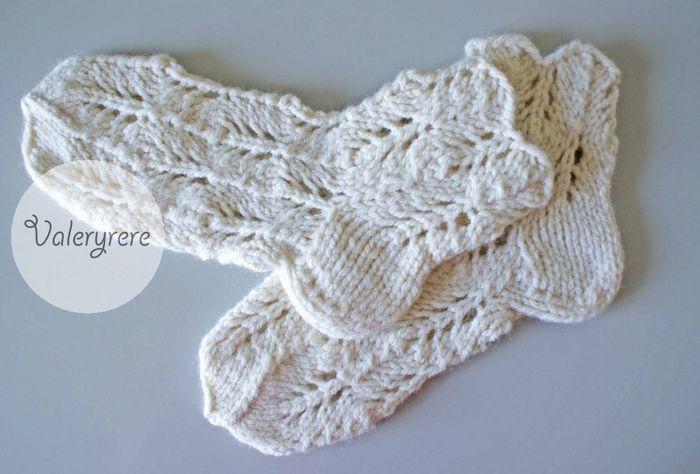 схема вязания ажурных перчаток спицами