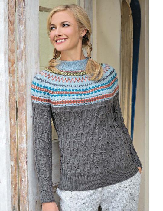 женский свитер спицами круглой кокеткой, вязаные свитера туники и кофта...