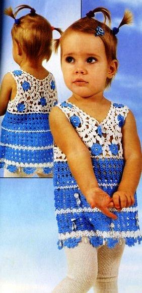 Детское платье ,вязанное крючком и. детские платья крючком схемы br...