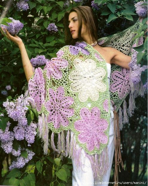 Вязание крючком - Женские модели.  Красивое вязаное крючком пончо белого.