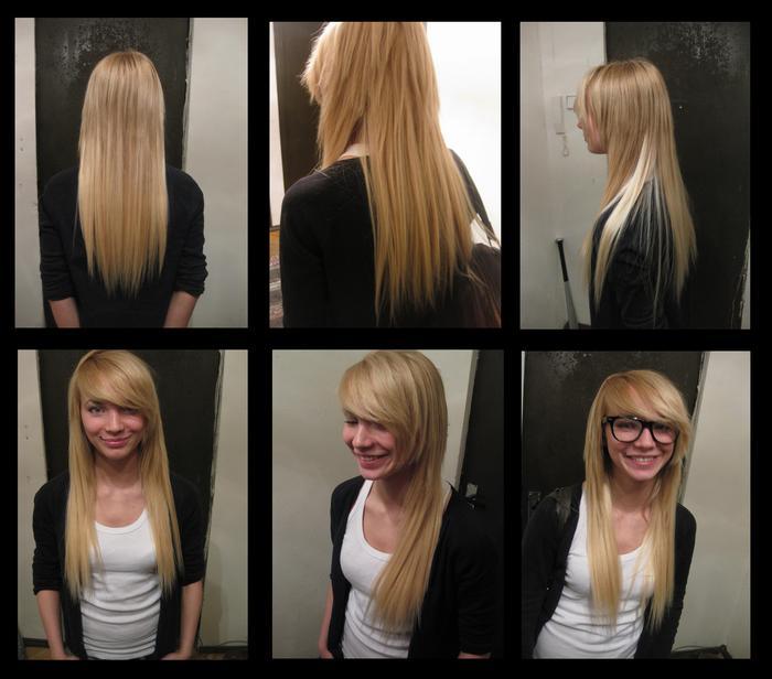 Стрижка эффект нарощенных волос фото