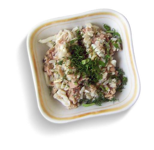 легкие закуски. b Рецепт/b b салата/b из печени b трески/b с рисом.