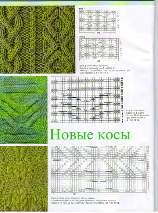 Узоры для вязания косы (косички) спицами.  Схемы.  Lornet. вязание...