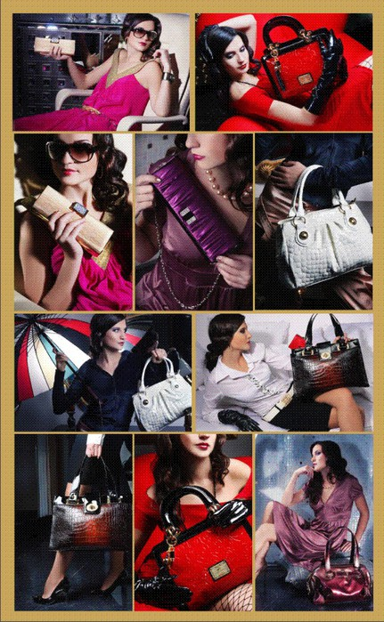 Яркий, красочный клипарт с изображением девушек и дамских сумочек.